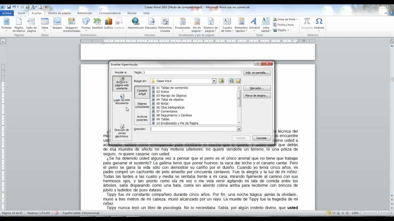 Word 2010 (Hipervinculos) - YouTube