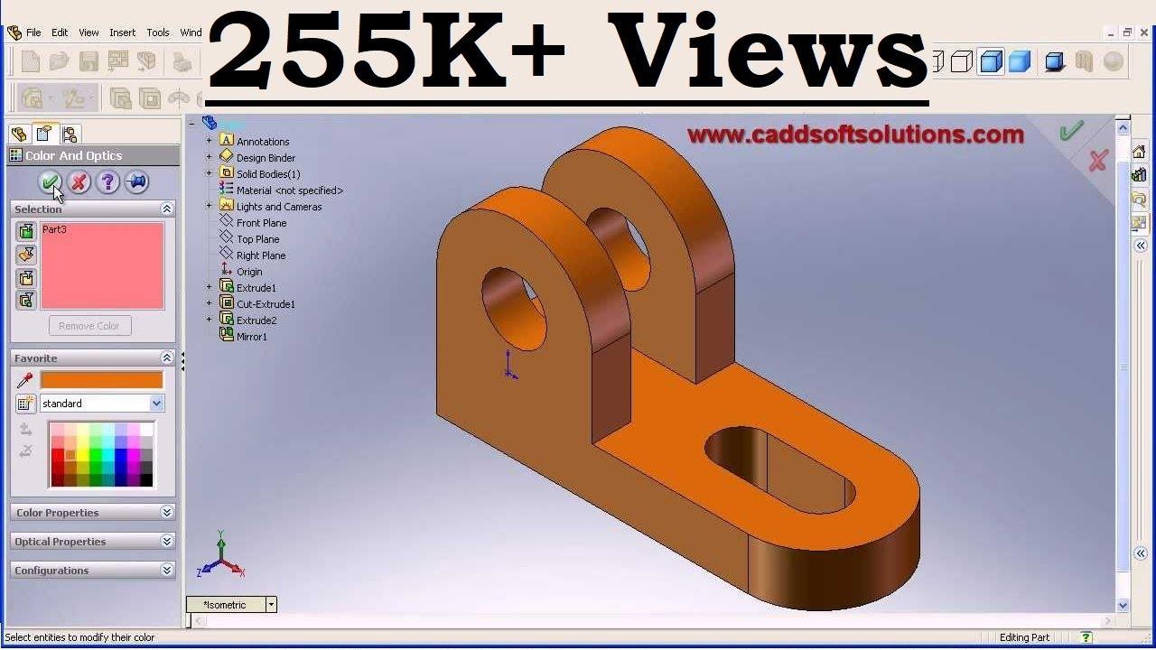 Solidworks basic part modeling design tutorial for for Basic cad online