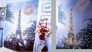 Diy Valentines Day Eiffel Tower Wall Decor  Shower Curtain Decor Hack!