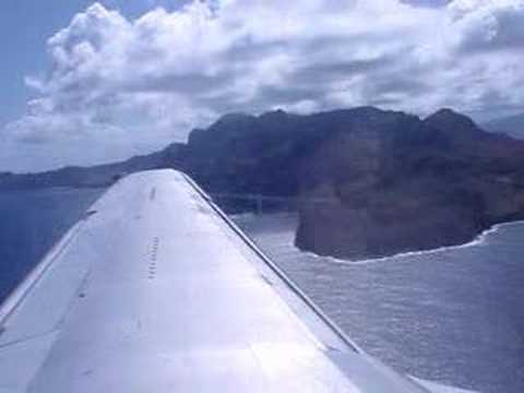 Landing at Lihue Airport (Kauai Island/Hawaii) inbound from Honolulu after short fligth with Boeing B737-200 of Aloha Airlins.