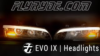 Mitsubishi Evo IX Headlights with TSX Projectors, SRLSS, XB Angel Eyes and DRL Strip