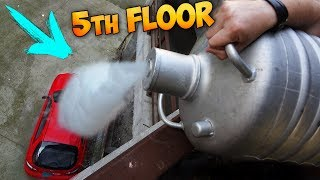 POURING 5 GALLONS OF LIQUID NITROGEN ON MY CAR FROM FIFTH FLOOR!!!