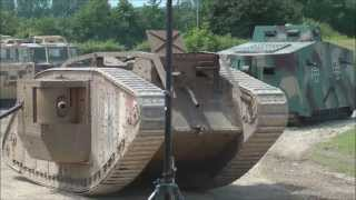 German and British WW1 tanks in action.