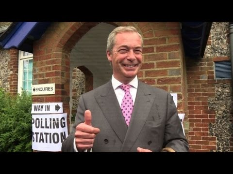 UKIP leader Nigel Farage votes in EU referendum
