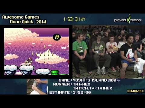 AGDQ 2014 - Yoshi´s Island (100% + Glitched%) - TRI-HEX and Carl Sagan - Speedrun