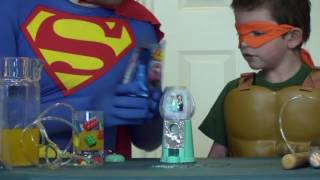 surprise toys challenge and surprise toy with superman and ninja turtle superhero in real life