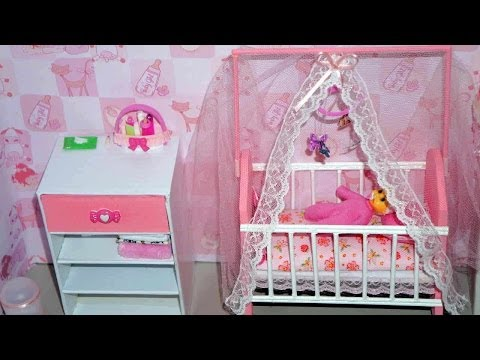 How to make a baby crib / cot (part 2) for doll (Monster High. Barbie. etc)