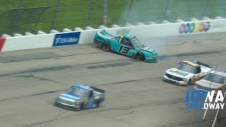 Johnny Sauter crashes after contact with Austin Hill