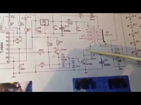 Влияние С2 100nF.  Исследование фонарика 30W v.1.
