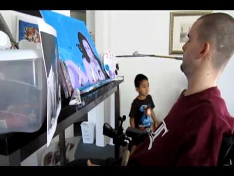 Paralyzed artist Benny DIAR paints a portrait of Amandita Garcia...