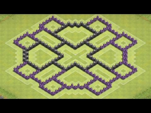 Clash Of Clans - BEST/AMAZING Town Hall 8 Farming Base (Triangular Defense + Protects Dark Elixir)
