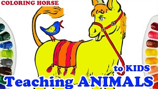 Coloring the gentle horse | Learn Colors For Kids, Toddlers