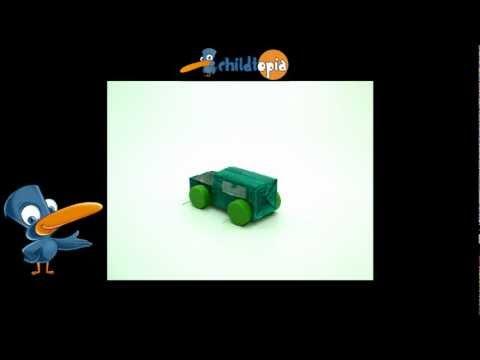 Coche de material reciclado. Manualidades infantiles, manualidades con material