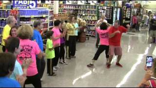 60, 70, & 80 year-old Seniors FLASH MOB Albertsons with 'HAPPY'