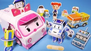 Robocar Poli ambulance Paper Craft police fire car toys
