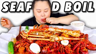 KING CRAB LEGS + SNOW CRAB + CRAWFISH SEAFOOD BOIL MUKBANG 먹방 EATING SHOW!