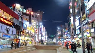 Walking through the nightlife area of Sinchon in Seoul, South Korea
