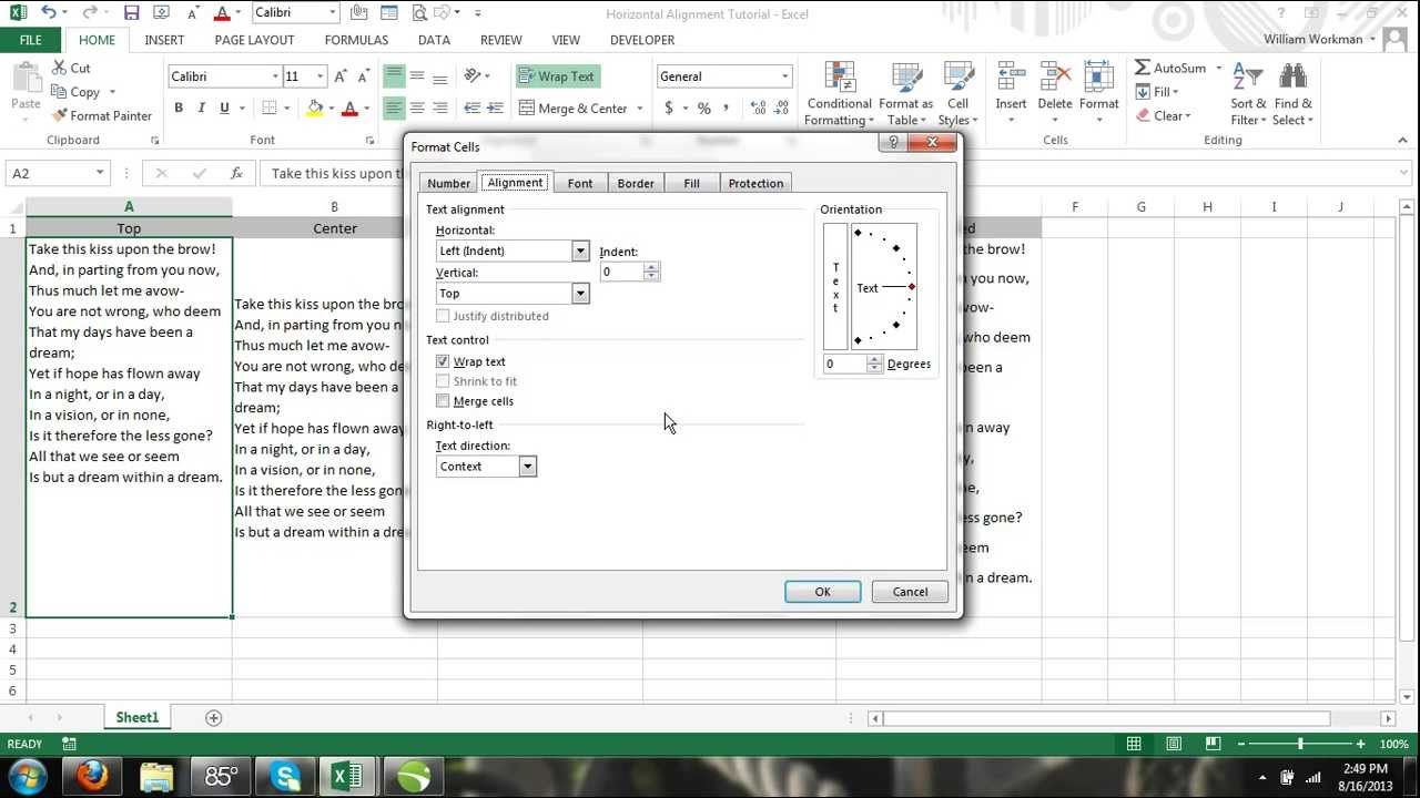 Excel 2013 tutorial for noobs part 44 vertical text for Text align top