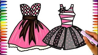 Coloring Princess Dress Learn Colors with Dresses  Coloring Pages Kids and Fun Drawing for Children