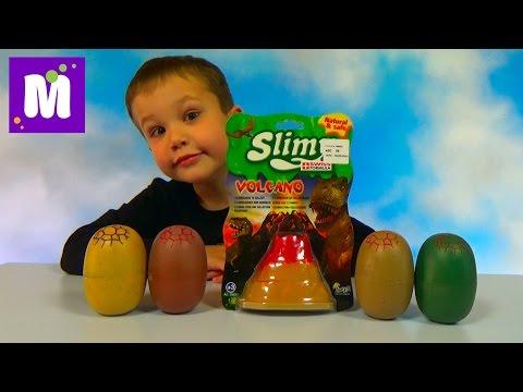 Динозавры игрушки в слизи в яйцах и вулкане