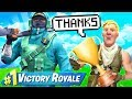 HELPING KID WIN HIS FIRST FORTNITE GAME OF THE SEASON!