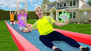 LAST TO STOP SLIDING WINS $10,000!! (New Backyard Waterslide Challenge)