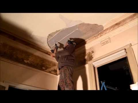 Large Hole in Lath and Plaster Ceiling and Cornice Repair