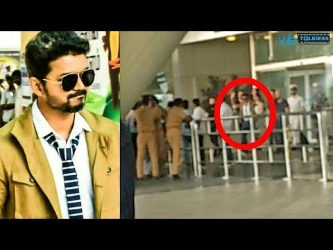 Vijay spotted at Chennai airport for Thalapathy 62 shooting -  Viral Video