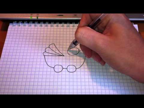 Видео как нарисовать коляску