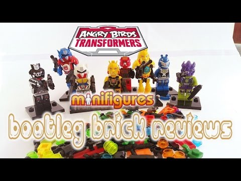BOOTLEG Brick Reviews - ANGRY BIRDS TRANSFORMERS minifigures feat. OPTIMUS GALVATRON BUMBLE BEE