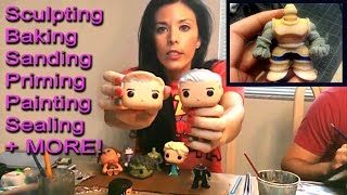 How to customize Funko Pop DIY Toy ( Tutorial Sculpting Sanding Priming Painting Sealing + More ! )