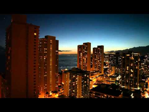 Hilton Waikiki Beach Hotel Prince Kuhio Honolulu Hawaii View From The 32 Floor at Sunset May 2013