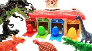 Color Dinosaur eggs. Dinosaur Battle in Jurassic World T Rex Fun Video - Dino Toys for Kids