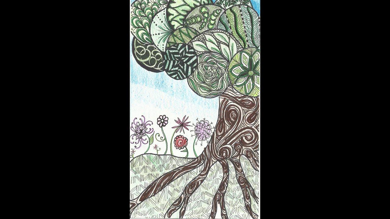 Zentangled Tree - YouTube
