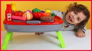 Oyuncak Barbekü Seti Açtık Mangal Keyfi Yaptık l Oyuncak Açma Videoları