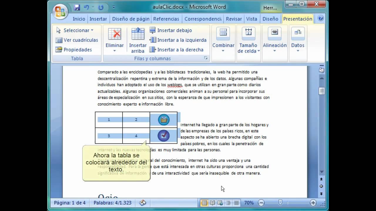 Curso de Word 2007. Ajustar tablas en el texto. - YouTube