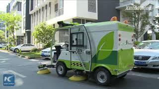 World's first! Driverless sweeper trucks on trial run in Shanghai