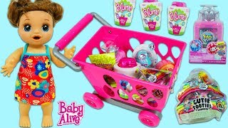 Baby Alive Doll Goes Christmas Shopping for Surprise Toys with Toy Shopping Cart & Cash Register!