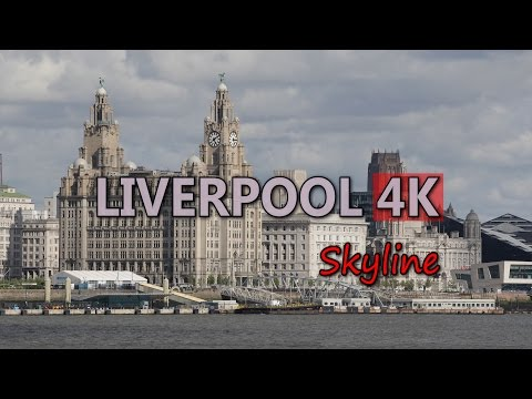 Ultra HD 4K Liverpool England Skyline Cityscape Travel Top City Attractions UHD Video Stock Footage