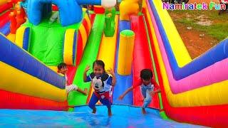 Naik Istana Balon Doraemon Odong odong Mainan Anak baju mickey mouse Kids Pool Fun Baloons Castle