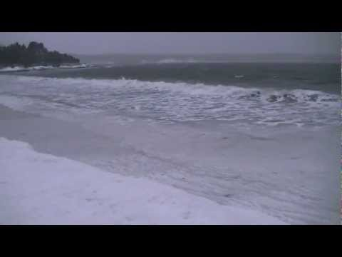 This is a quick video from an ice bank on the shores of Eastport Beach of a weather bomb passing through Eastern Newfoundland giving hurricane winds and snow!