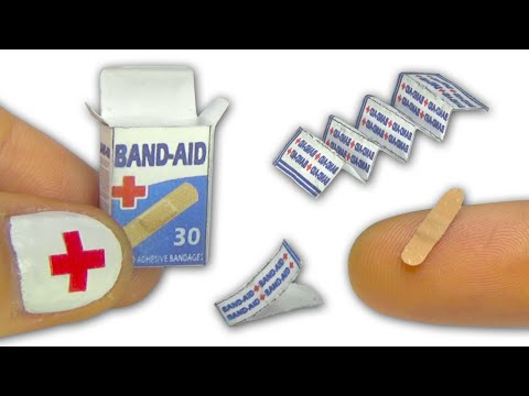 Miniature doll band-aid or adhesive bandages strips and box tutorial - Dollhouse DIY