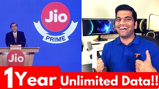 Jio Prime Offer Launched | Unlimited Data for 1 Year