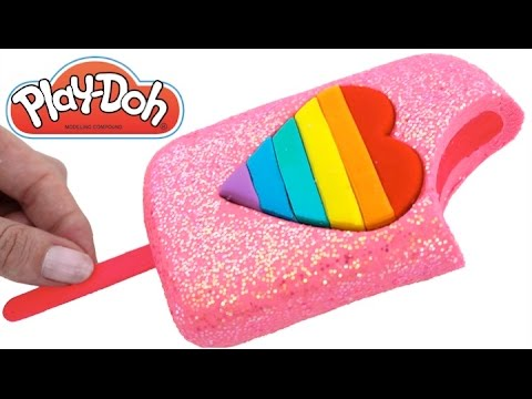 Play Doh Frozen! Make Rainbow Heart Glitter Ice Cream with Play Dough Clay * RainbowLearning
