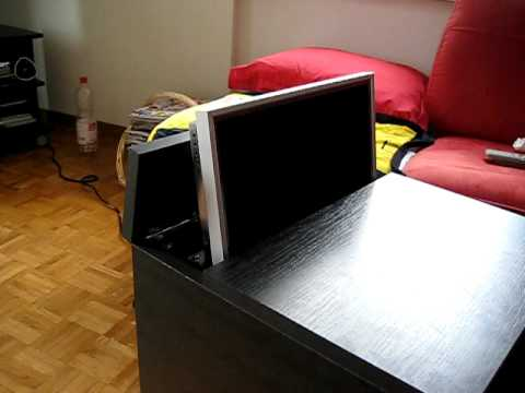 Lcd lift fourniture pc table retractable monitor - YouTube