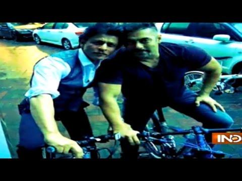 Salman Khan and Shahrukh Khan Ride Bikes Together | Meet 'Karan-Arjun'