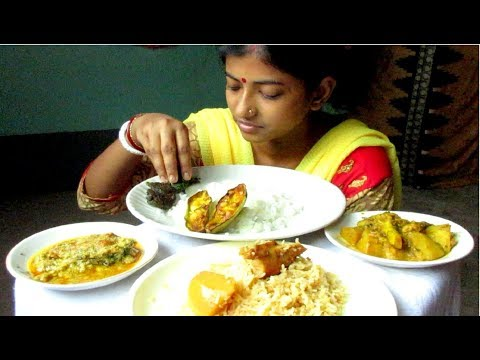 Eating Chicken Biryani, Rui Posto, Aloo Phulkopir Dalna with Rice || Food Ninja