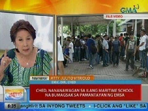 UB: CHED, nananawagan sa ilang maritime school na bumagsak sa pamantayan ng EMSA