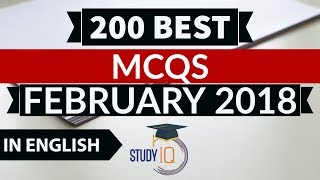 200 Best current affairs MCQ from February 2018 in English - IBPS PO/SSC CGL/UPSC/PCS/KVS/IAS 2018