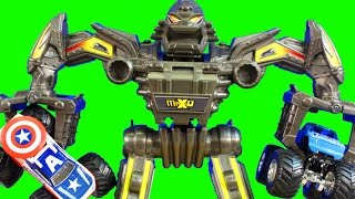 Hot Wheels Monster Jam Maximum Destruction Battle Morphers with Captain America Monster Truck
